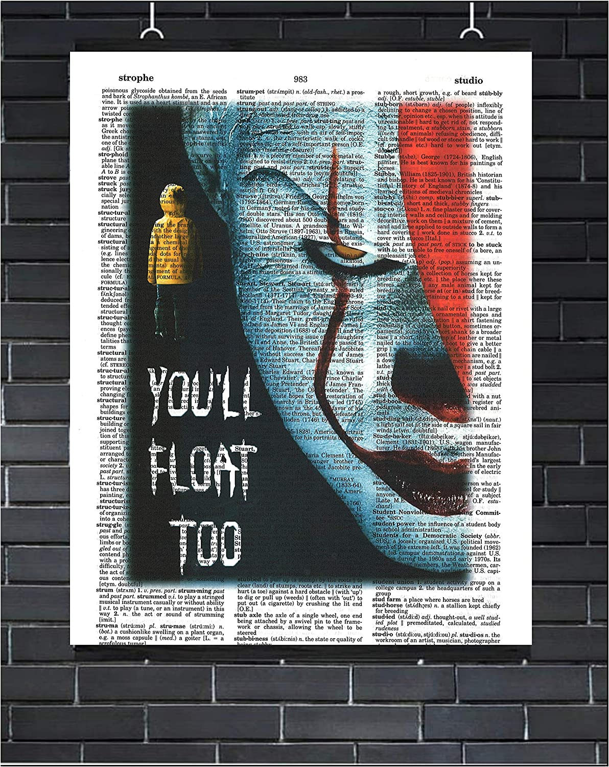 IT Horror Movie Print Pennywise The Clown Wall Art You'll Float Too Scary Clown Halloween Wall Decor Stephen King Pennywise Dictionary Art Print