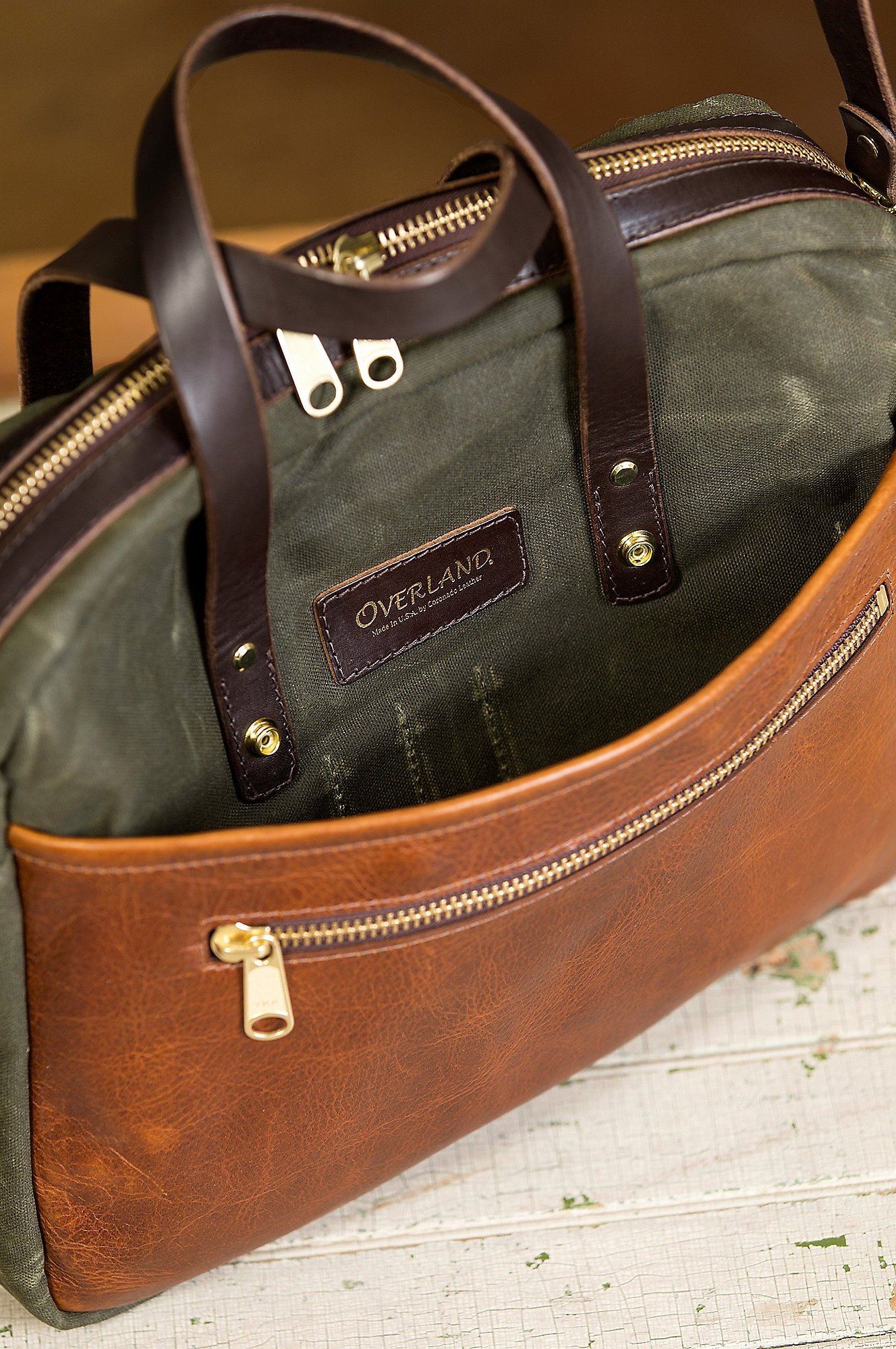 Heritage Canvas and American Bison Leather Briefcase by Overland Sheepskin Co (Image #5)