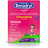 Benadryl Children's Allergy Chewable Tablets Grape Flavored - 20 ct, Pack of 2