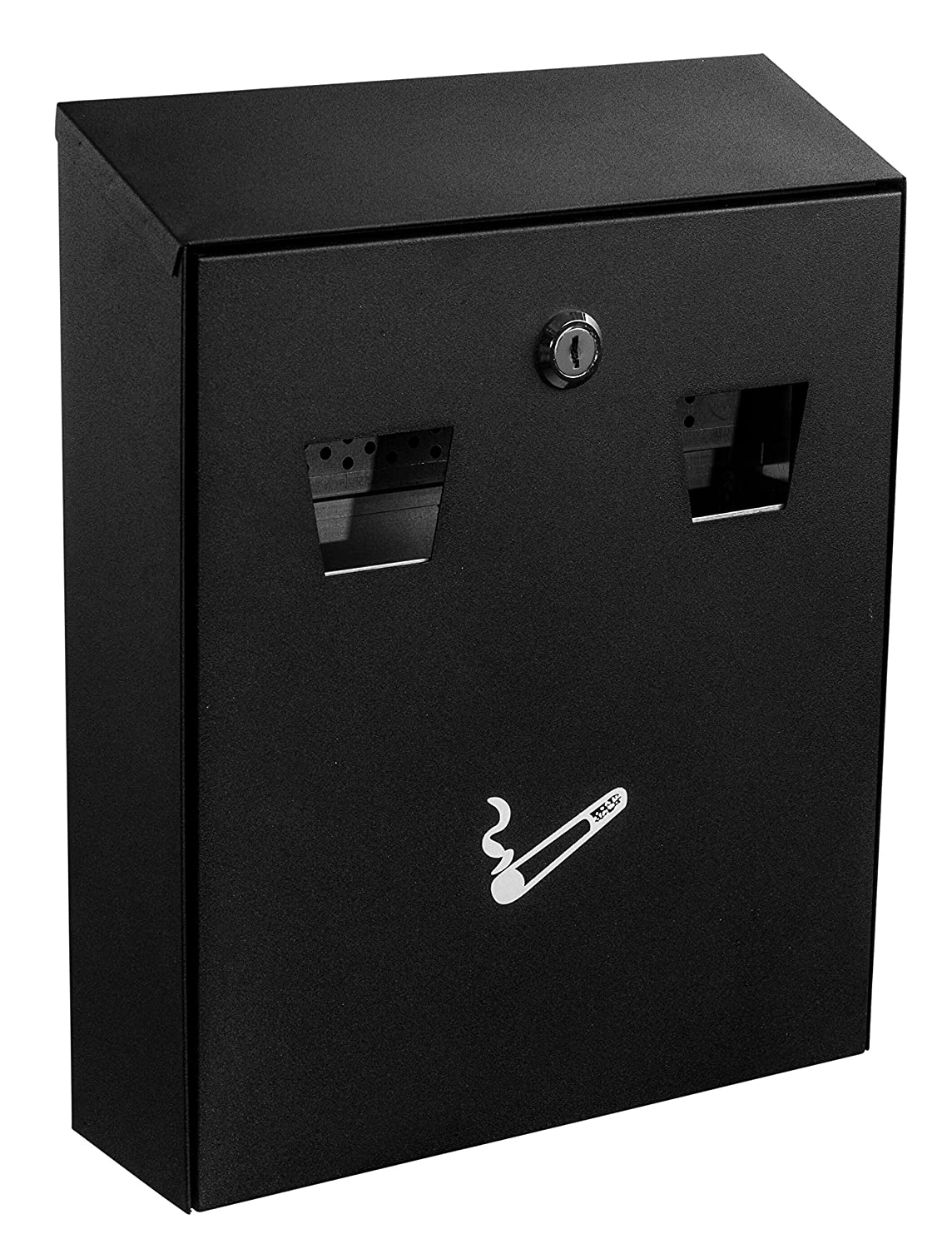 Alpine Industries Cigarette Butt Receptacle - Smoker Disposal Station - Eliminates Odor - Wall Mounted Receptacle Box - Easy Cigarette Waste Accommodation - for Outdoor Use (Black)