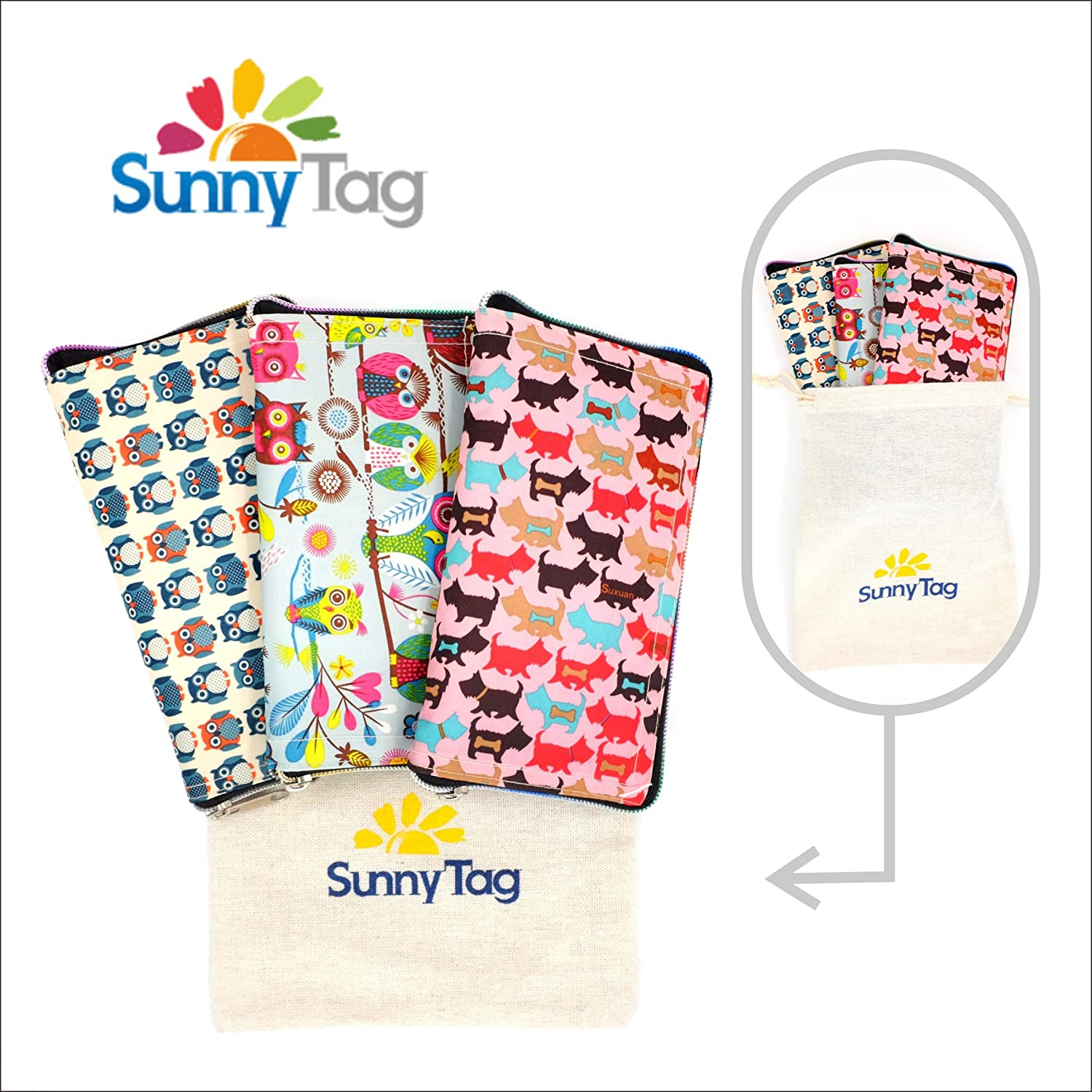 Sunnyタグ折りたたみ式再利用可能なEco Friendly財布スタイルGrocery Shopping旅行バッグトートバッグPack of 3。撥水、洗濯可能、Hold Up To 33ポンドまたは15 kg L ShoppingBag3PC B06XFZGCB6 Creatures Pink Blue White|3 Creatures Pink Blue White