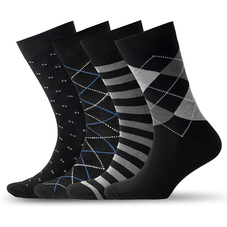 Mens Patterned Dress Socks – Pack of 4 Socks – Four Beautiful Designs, Classic Black Color