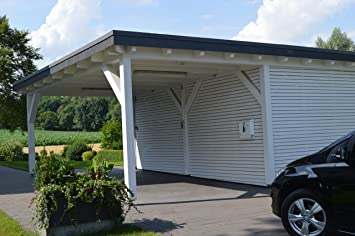 Carport Flachdach für einen PKW mit Abstellraum Oeynhausen Leimholz ...