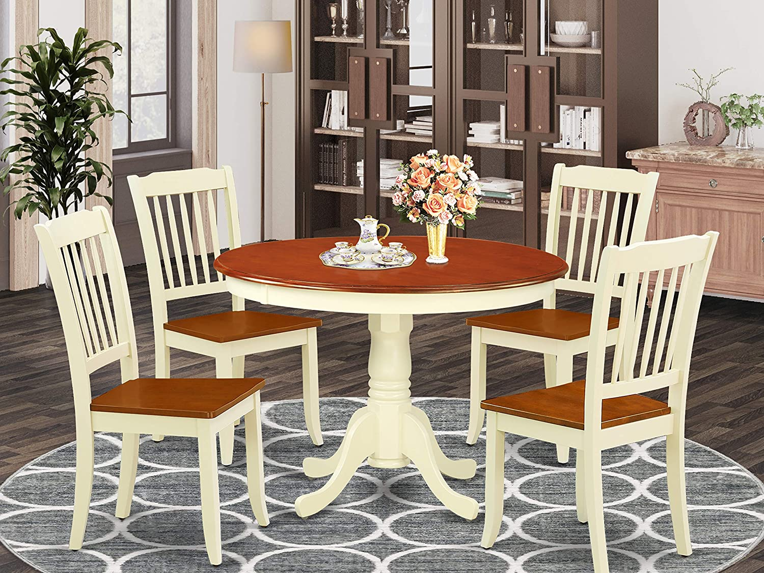 East West Furniture 5PC Round 42 inch Table and 4 vertical slatted Chairs, Buttermilk & Cherry