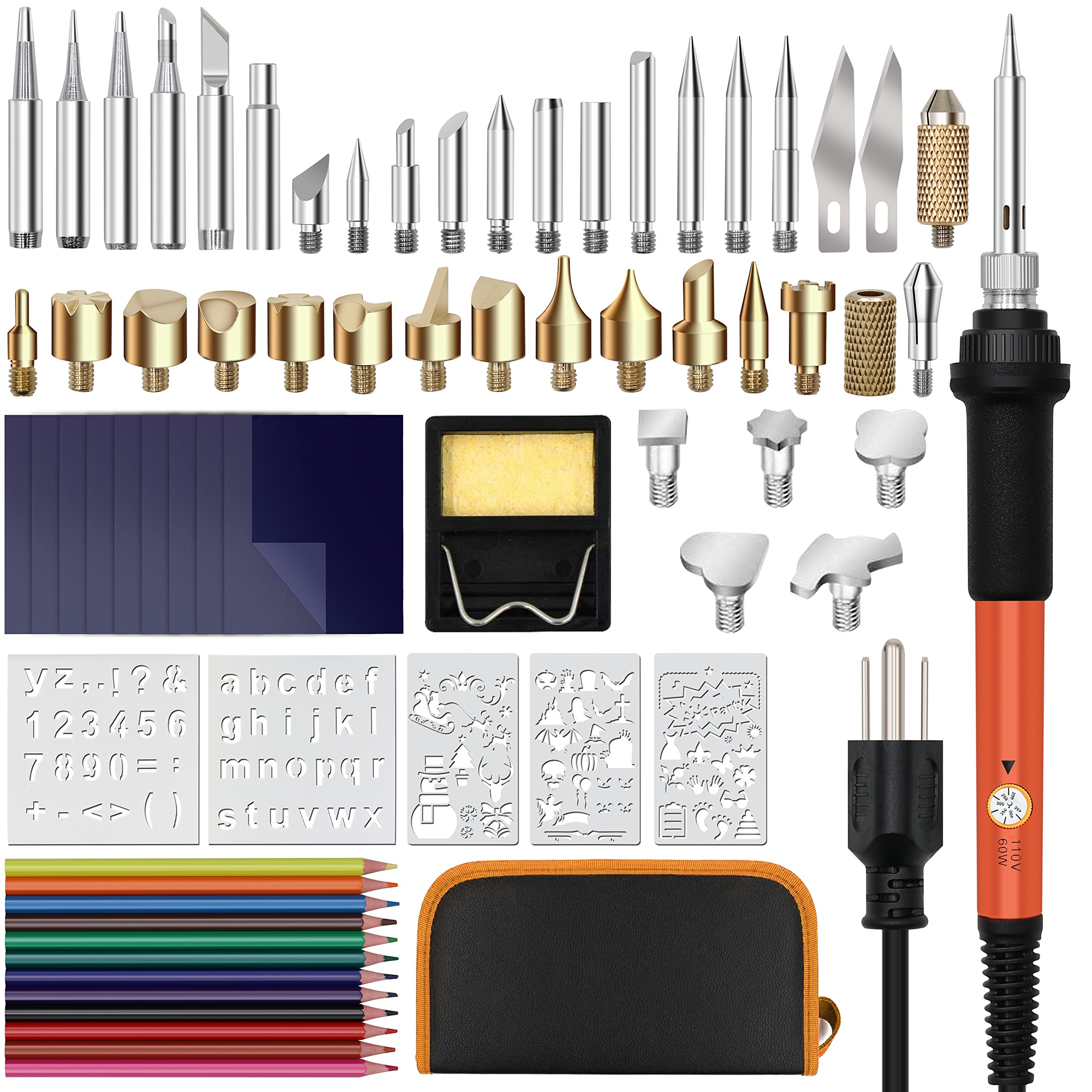 Qimh Wood Burning Kit, 70pcs Soldering Iron Set Adjustable Temp Include Carving/Embossing/Wood Burning Tips, Soldering Iron Pen, Stencils, Converter, Stand and Carry Case