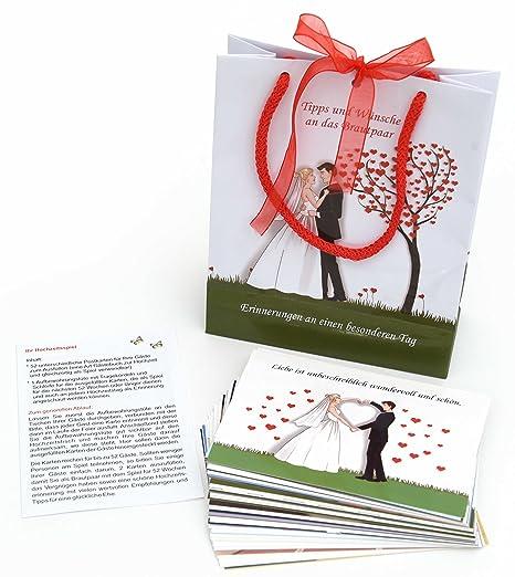 Hochzeitsspiel 52 Postkarten (verschiedene) für die Gäste zum Ausfüllen mit Tipps, Empfehlungen, Rezept für die Ehe usw. Set