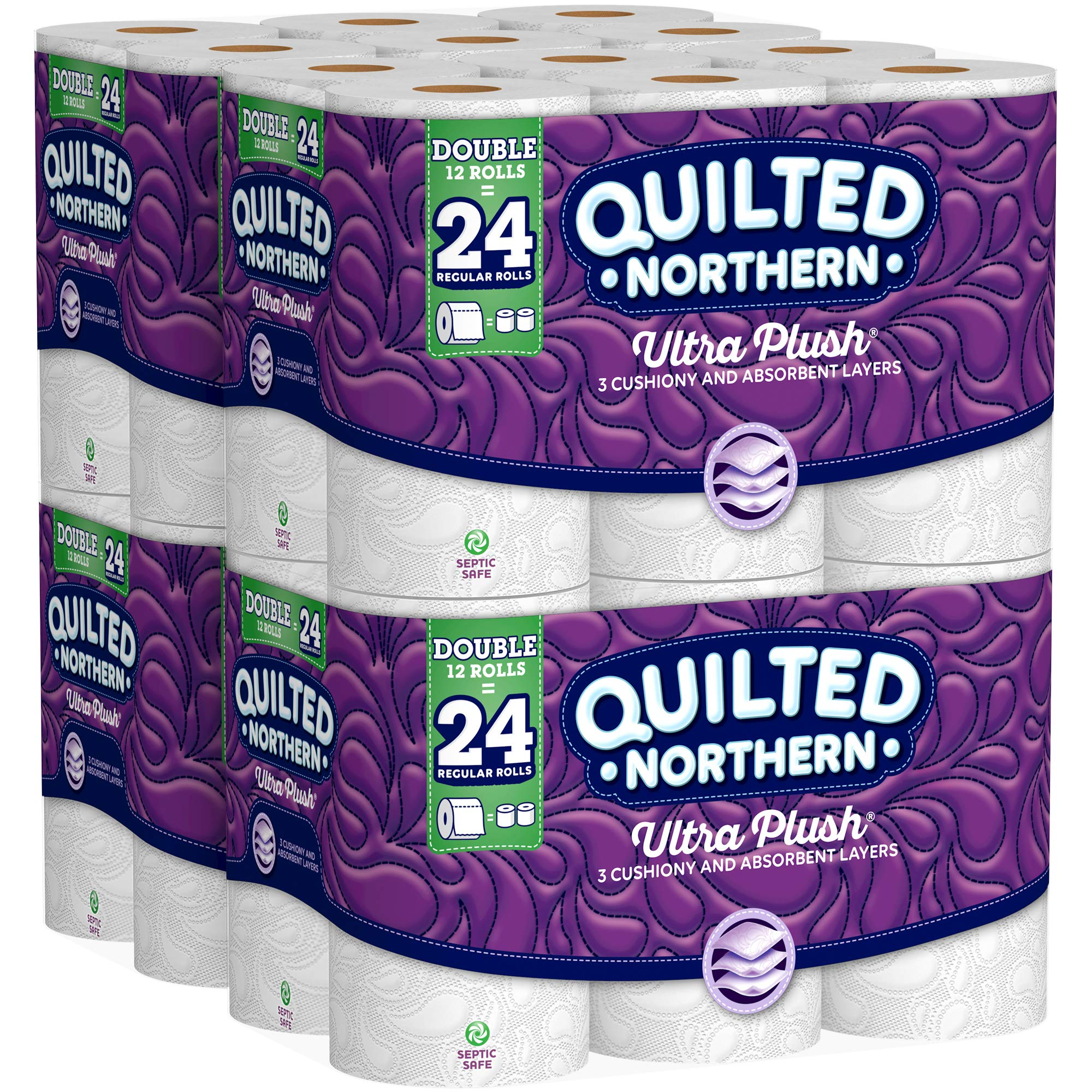 Quilted Northern Ultra Plush Toilet Paper, Pack of 48 Double Rolls (Four 12-roll packages), Equivalent to 96 Regular Rolls-Packaging May Vary