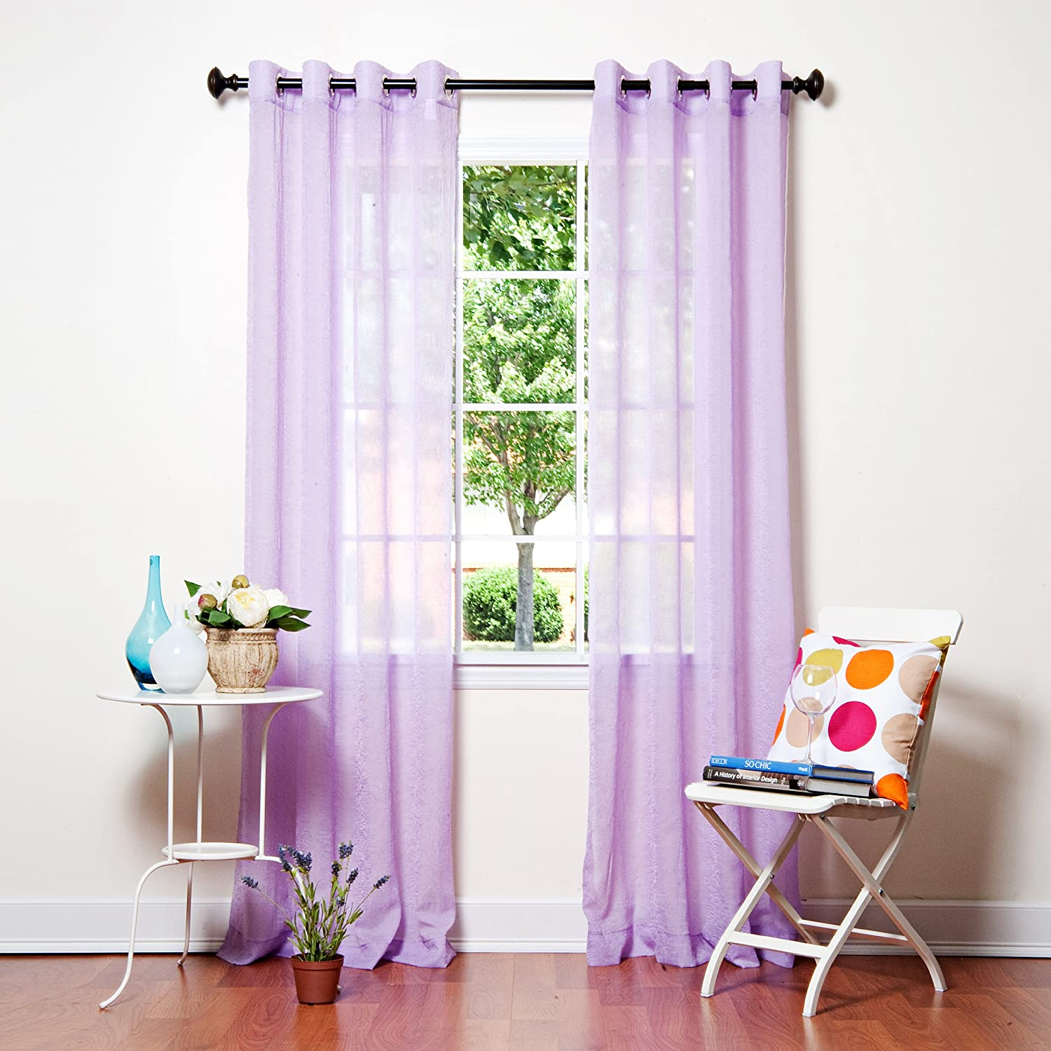 Best Home Fashion Closeout Crushed Voile Sheer Curtains - Antique Bronze Grommet Top - Purple - 52