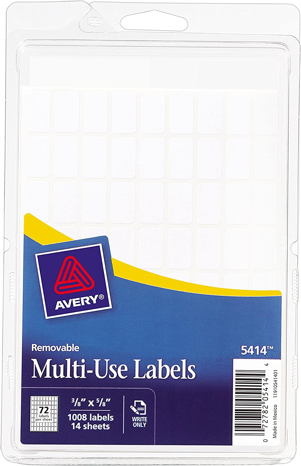 Avery Removable Rectangular Labels, 0.375 x 0.625 Inches, White, Pack of 1008 (5414) : All Purpose Labels : Office Products