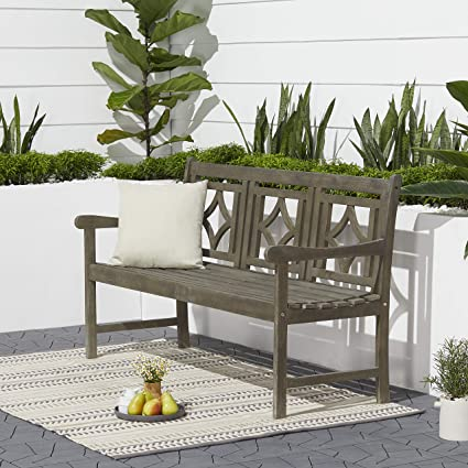 Peachy Vifah V1828 Haseley Outdoor Patio Diamond 5 Foot Hand Scraped Hardwood Bench Vista Grey Short Links Chair Design For Home Short Linksinfo
