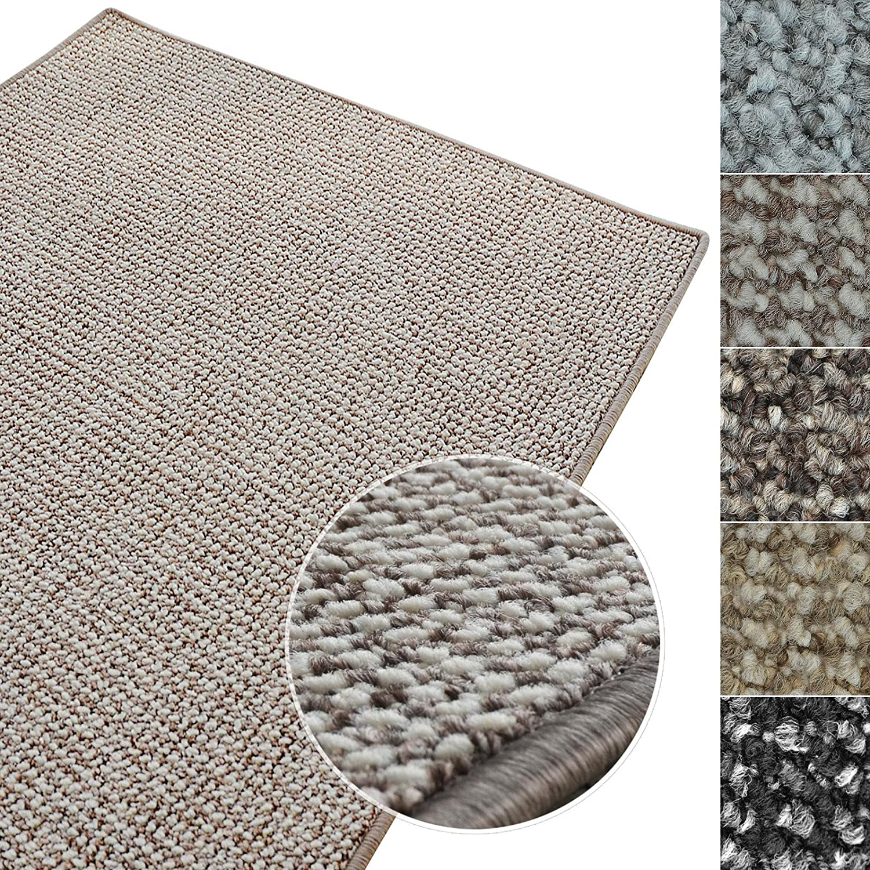 Kurzflor Teppich Carlton   Flachgewebe dezent gemustert   robuster Schlingenteppich in vielen Größen   als Wohnzimmerteppich, Küchenteppich, Schlafzimmerteppich (Grau-Beige - 200x400 cm)