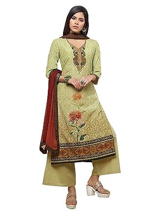 Amazon.com: Elegante traje de salwar de seda pura de color ...