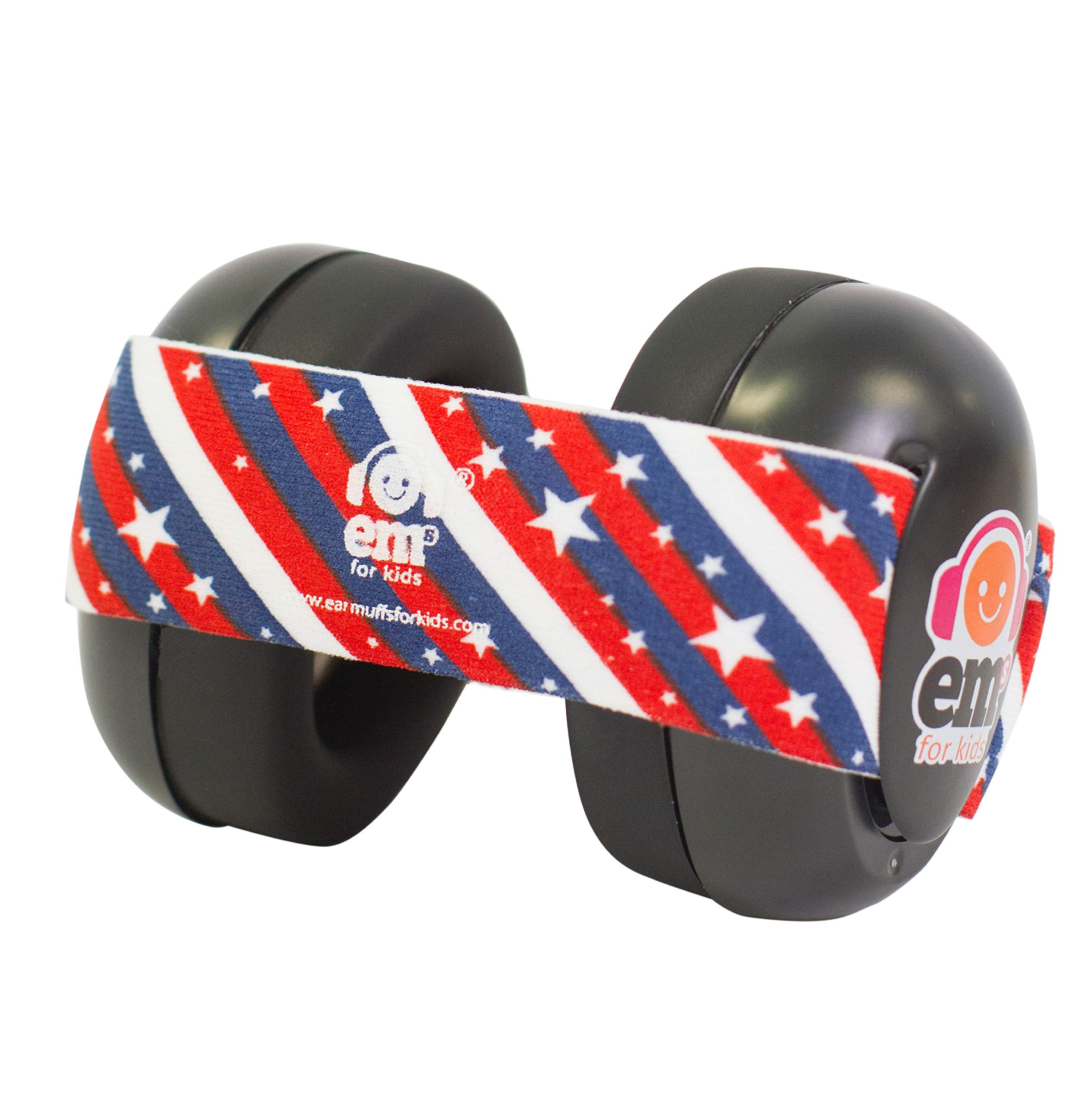 Ems for Kids Baby Earmuffs - Black with Stars n Stripes. Made in The U.S.A! The Original and ONLY Earmuffs Designed specifically for Babies Since 2009