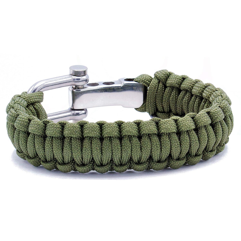 Wolflock Survivalist Paracord Armband Verschluss aus Edelstahl verschiedene Farben f/ür Outdoor und Survival