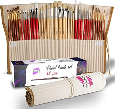 All Sizes 5 x Wooden Handle Flat Stlye Hog Bristle Artist//Craft Paint Brushes