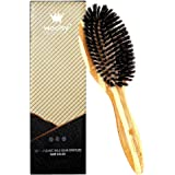 Woolsy 100% Organic Full Boar Bristles Hair Brush - For Thin, Normal & Fine Hairs with Natural Bamboo Wood Paddle - Restores Shine & Texture - For Men & Women