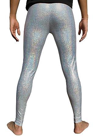 7d49f1d20286c5 Holographic Silver Snakeskin Men's Leggings Iridescent Meggings Men's  Compression Tights Festival Pants EDM Clothing Hologram Unicorn