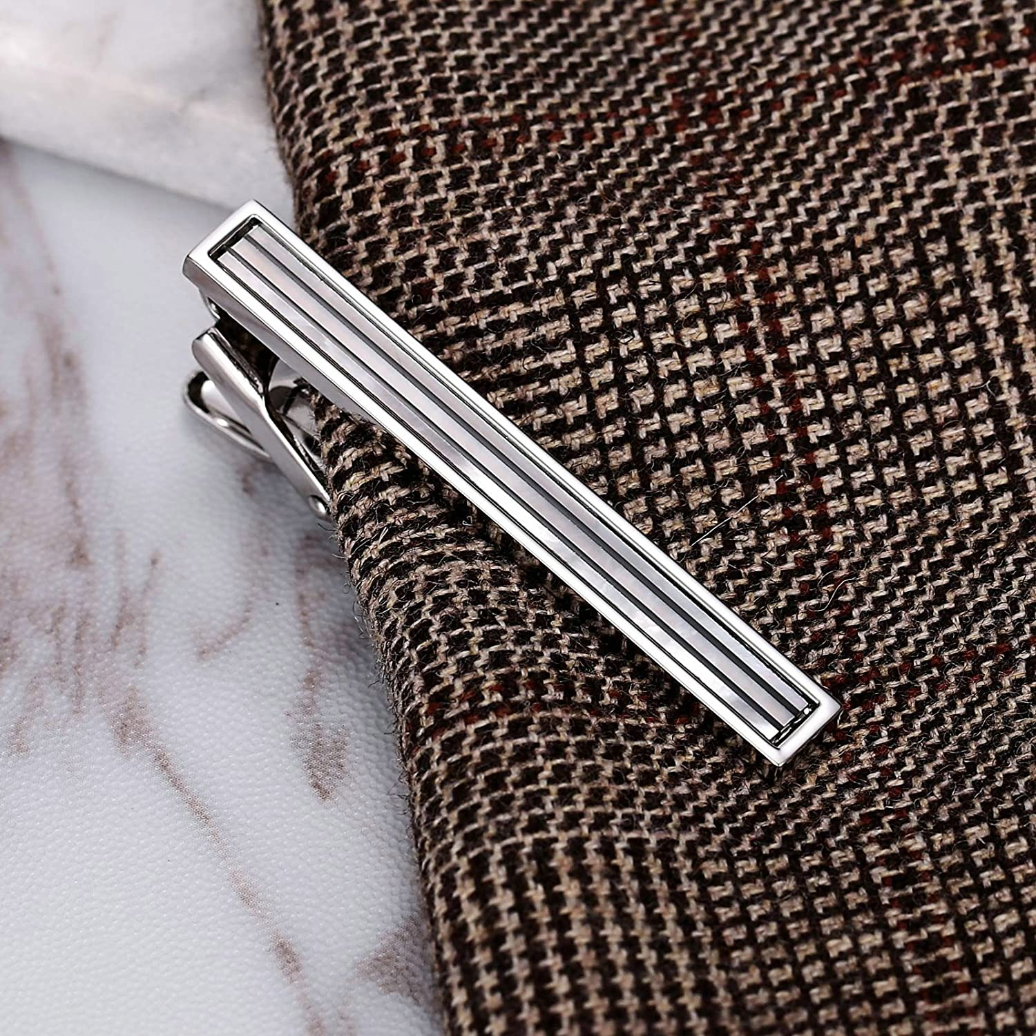 Men Tie Bar Clips Stainless Steel Inlaid with Shell Suitable for Wedding Anniversary Business and Daily Life Aokarry Tie Bar