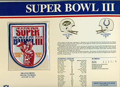 Super Bowl III Official Patch New York Jets vs. Baltimore Colts at