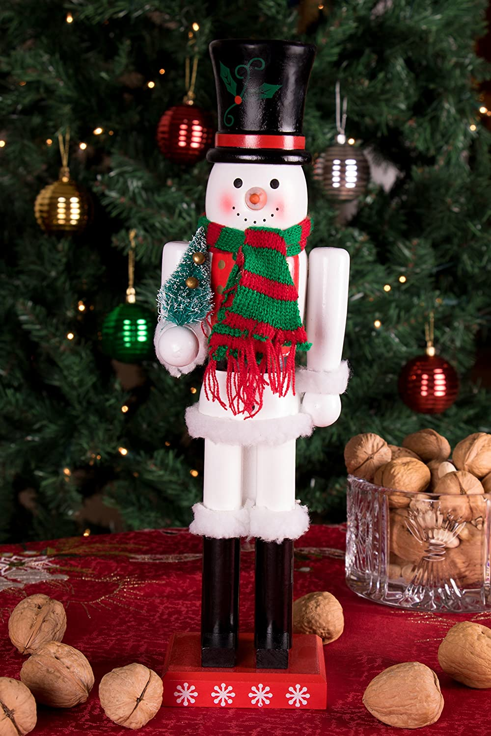 Snowman Nutcracker by Clever Creations | Black Top Hat and Red ...