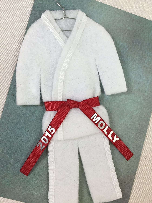 Amazon Com Christmas Ornament Uniform Martial Arts Personalized Choose Belt Color Karate Taekwondo Judo Jiujitsu Bando Aikido Handmade