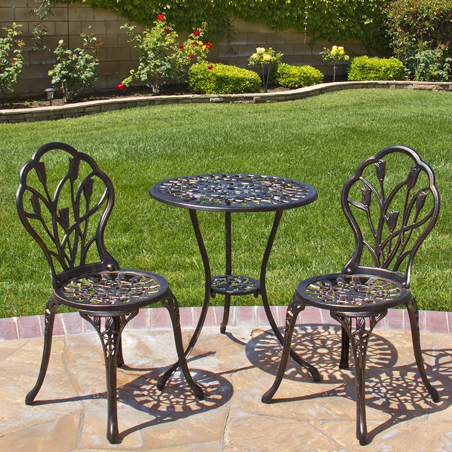 amazoncom best choice products outdoor patio furniture tulip design cast aluminum 3 piece bistro set in antique copper garden outdoor - Garden Furniture Table And Chairs