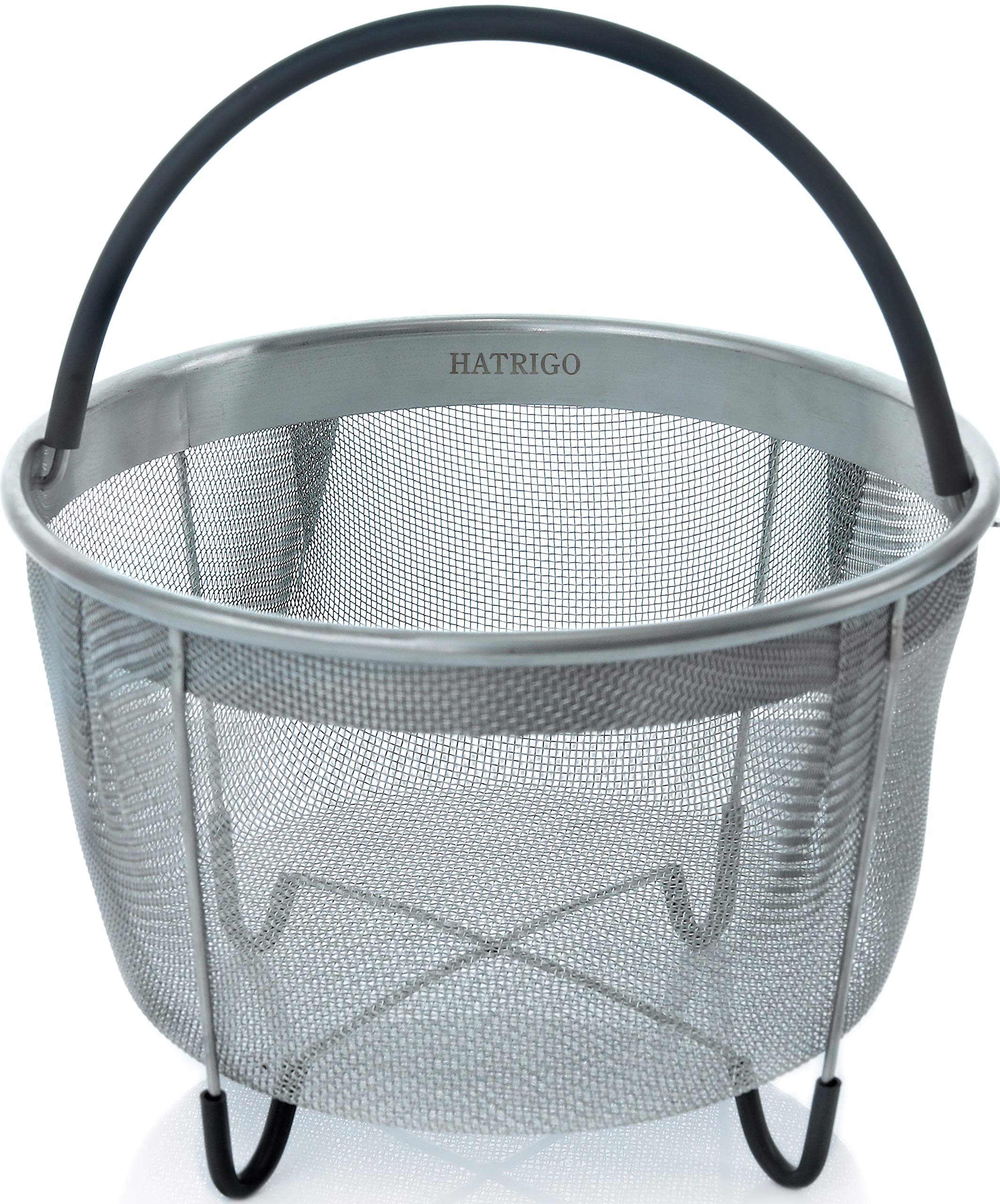 Hatrigo Steamer Basket for Pressure Cooker Accessories 6qt [3qt 8qt Avail] Compatible with Instant Pot Accessories Ninja Foodi Other Multi Cookers, Strainer Insert with Silicone Handle, IP 6 Quart