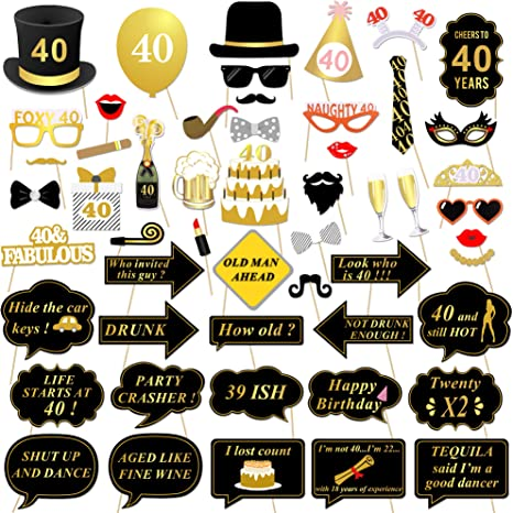 Amazon Com 40th Birthday Party Photo Booth Props 53pcs For Her Him Funny 40 Diy Birthday Party Gold And Black Decorations Konsait 40th Birthday Party Supplies For Men And Women Camera Photo