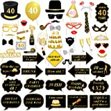 40th Birthday Party Photo Booth Props (53Pcs) for Her Him Funny 40 DIY Birthday Party Gold and Black Decorations, Konsait 40th Birthday Party Supplies for Men and Women