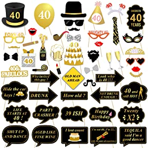 Konsait 40th Birthday Party Photo Booth Props (53Pcs) for Her Him Funny 40 DIY Birthday Party Gold and Black Decorations, 40th Birthday Party Supplies for Men and Women