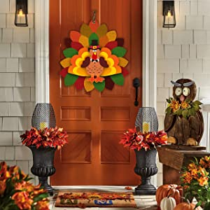 Thanksgiving Decor Turkey Door Hanging 3D Autumn Garden Farmhouse Sign Indoor and Outdoor Decoration 14×15 in