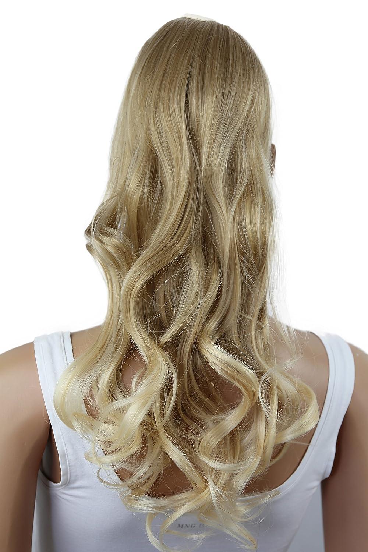 PRETTYSHOP 55cm parrucca Clip In Extension coda di cavallo - Ponytail Ricci ondulati resistenti al calore (bionda mix 25T613 HC5-1) HC5_25T613