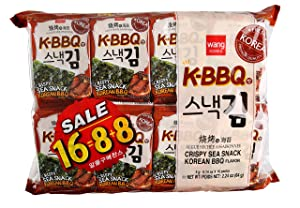 Wang Roasted Seaweed Snack, Korean Barbeque Flavored, 0.14 Ounce, Pack of 16