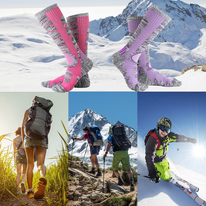 Vordas 2 Pares Calcetines para Mujer de Esquí para Esquiar, IR de Excursión (Tamaño: 34-37) - Un Par de Rosa, Un Par de Morado: Amazon.es: Deportes y aire ...