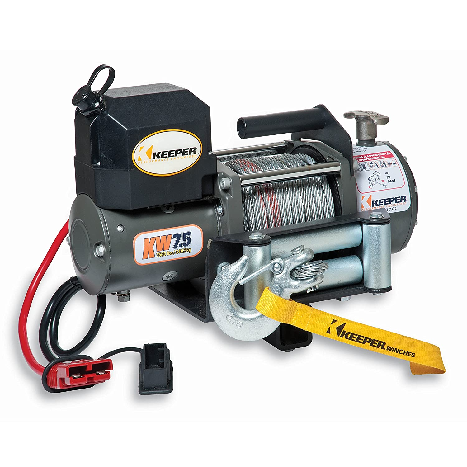 Keeper KWSL2000RM 12V DC Rapid Mount Portable Winch with Handheld Remote Load Capacity 6000 lbs