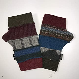 product image for Baabaazuzu Blue, Red & Green Patterned Women's Upcycled Wool Fingerless Gloves (Made in USA, Fleece-Lined)