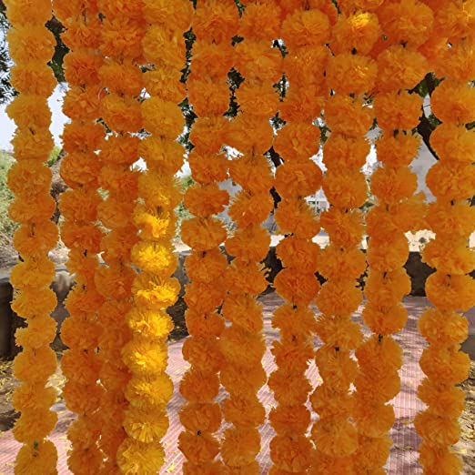 5 ft long Artificial Marigold flower garlands//strings home decor 20+2 Free pcs