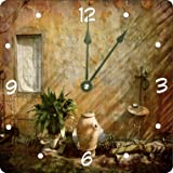 "Rikki Knight country garden Tuscany with Plant Design 13"" Art Wall Clock"