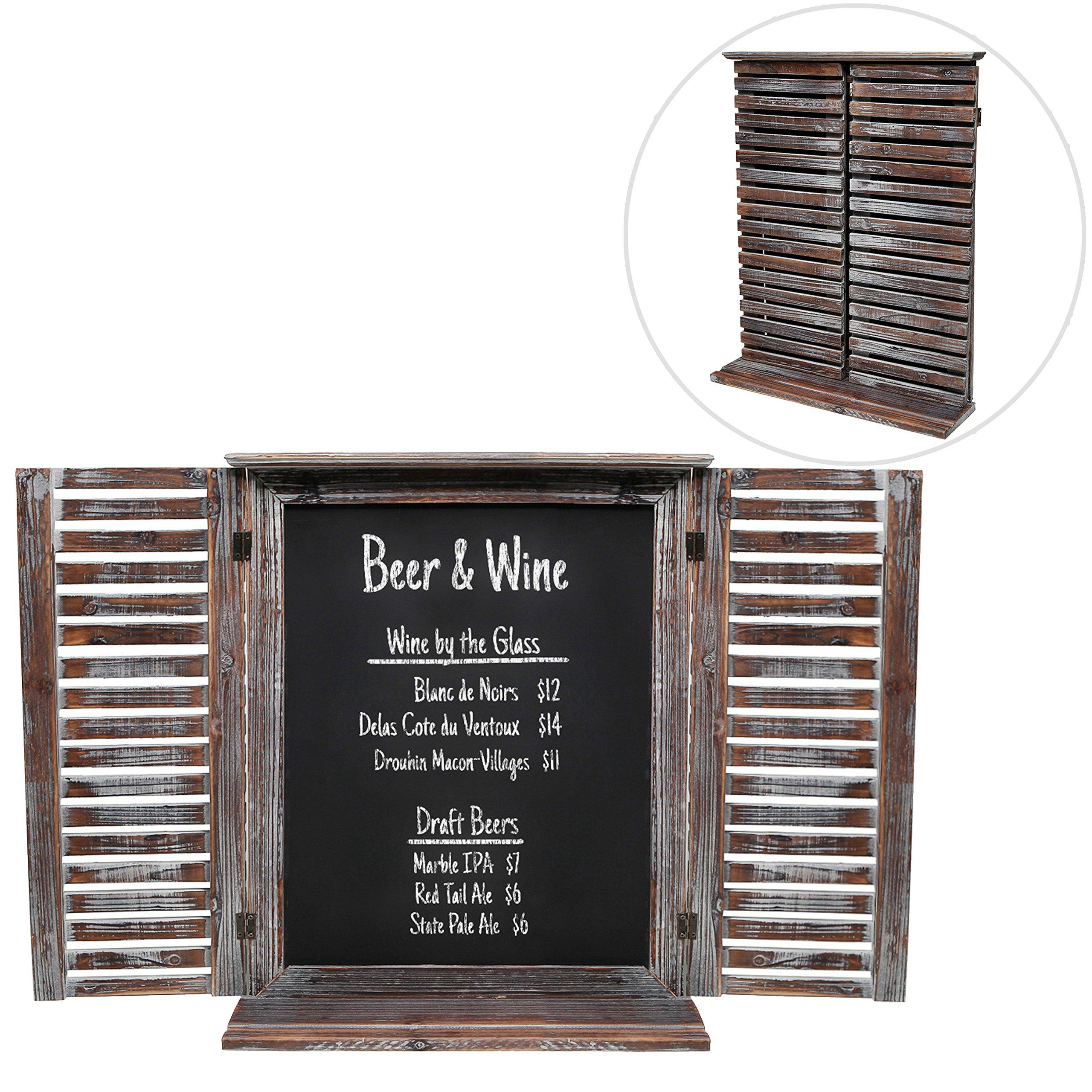 Rustic Vintage Wood Standing Chalkboard / Wall Mounted Blackboard w/ Folding Shutter Doors - MyGift