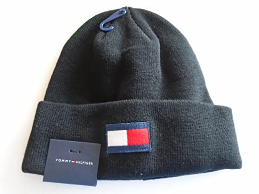 Tommy Hilfiger Cuff Beanie Winter Hat Classic Black With Large Micro-Flag  Patch Logo 8364319416c