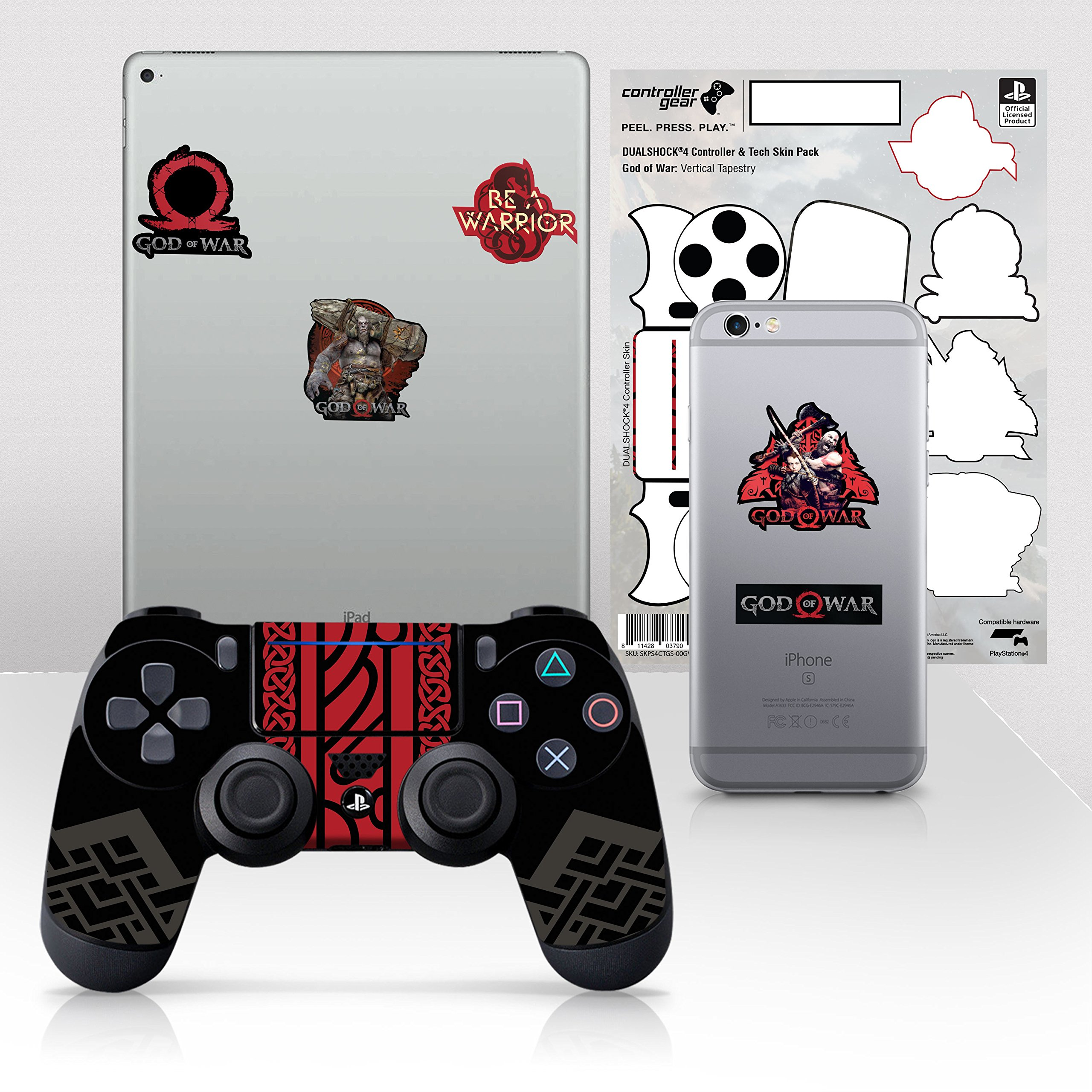 Controller Gear con licencia oficial God of War Dualshock 4 Wireless Controller y Tech Skin Set Vertical Tapestry - PlayStation 4