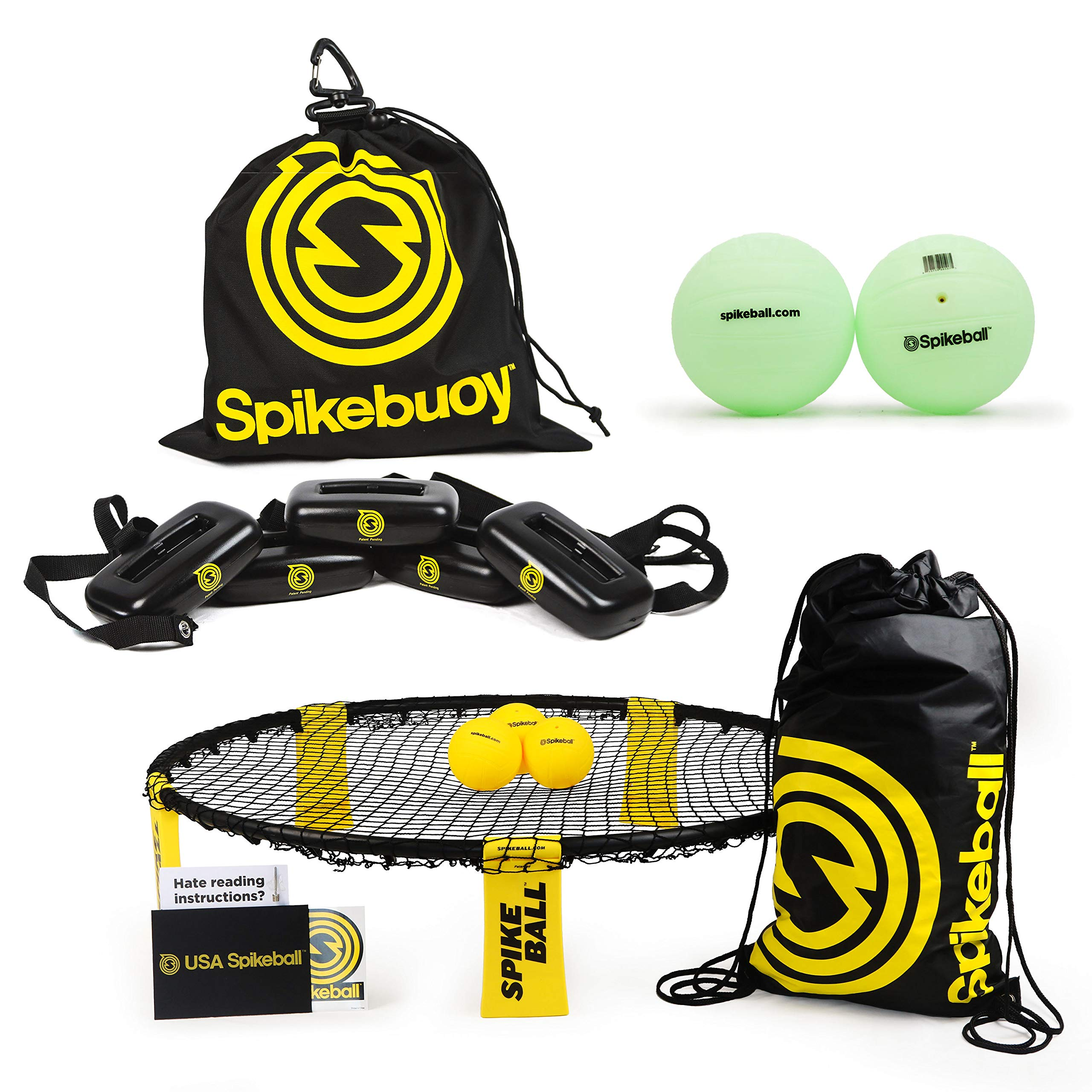 Spikeball 3 Ball Kit Bundle with Spikebuoy + Glow in The Dark Balls