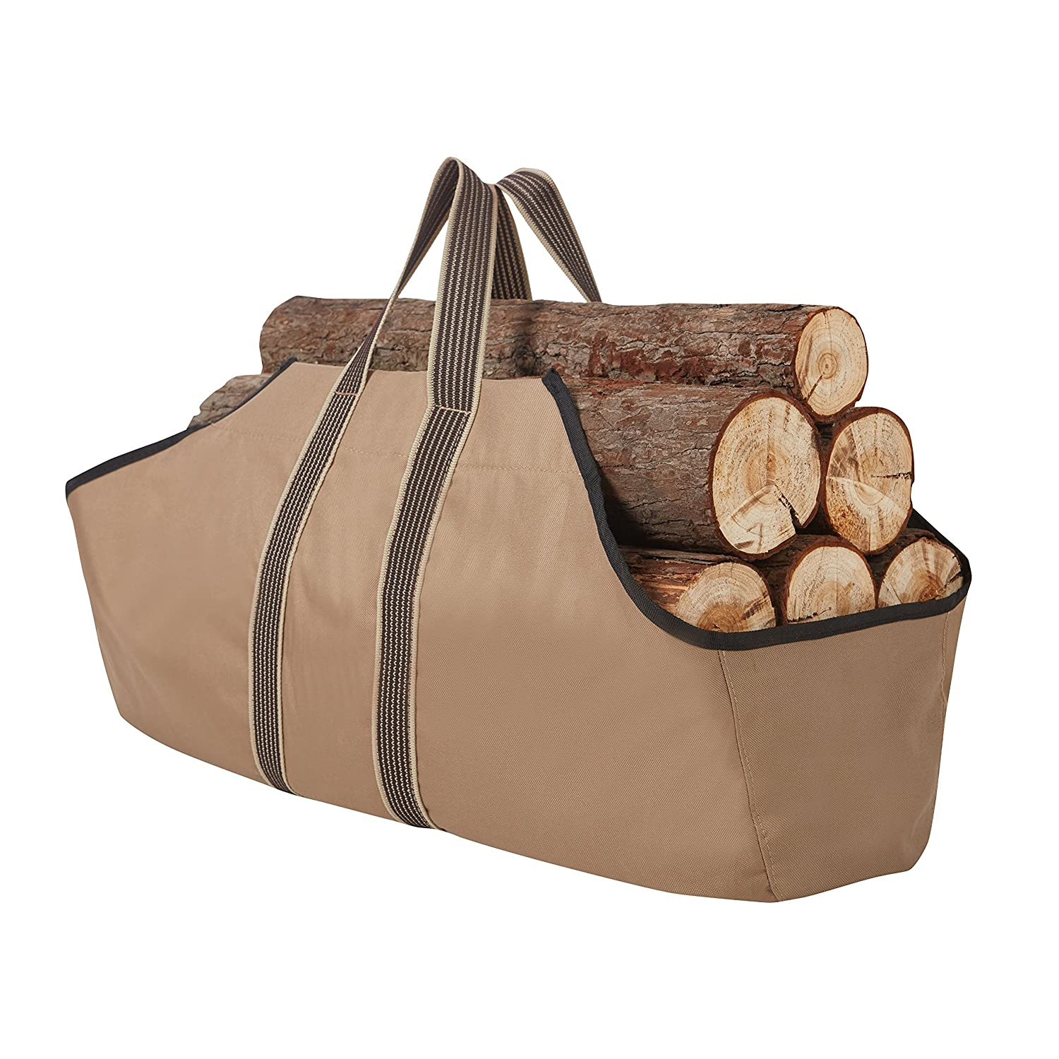 RORAIMA Firewood Log Carrier Signature Log Totes Heavy Duty Canvas (logs not included) size 36'x16'x9' Color Khaki