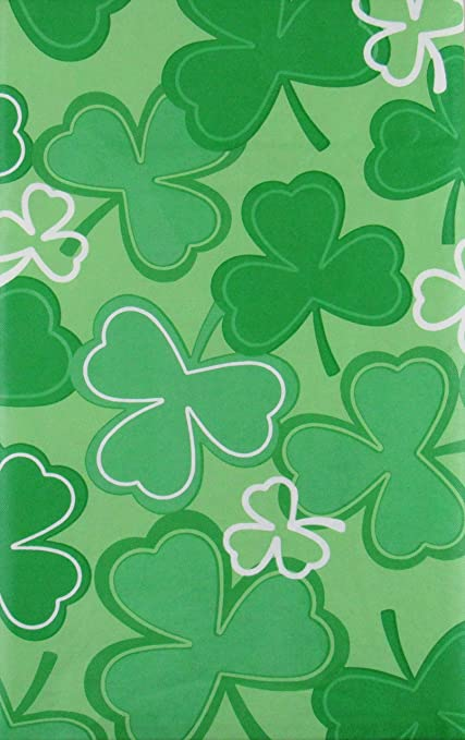 St Patrick S Day Shamrock Clovers Vinyl Flannel Back Tablecloth 52 X 52 Square Home Kitchen Amazon Com