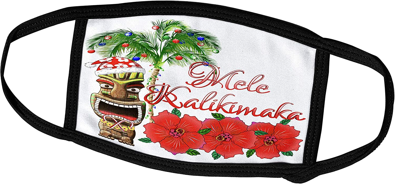 3dRose Macdonald Creative Studios – Mele Kalikimaka - Mele Kalikimaka, Hawaiian for Merry Christmas and Santa Claus Tiki - Face Masks (fm_295374_2)