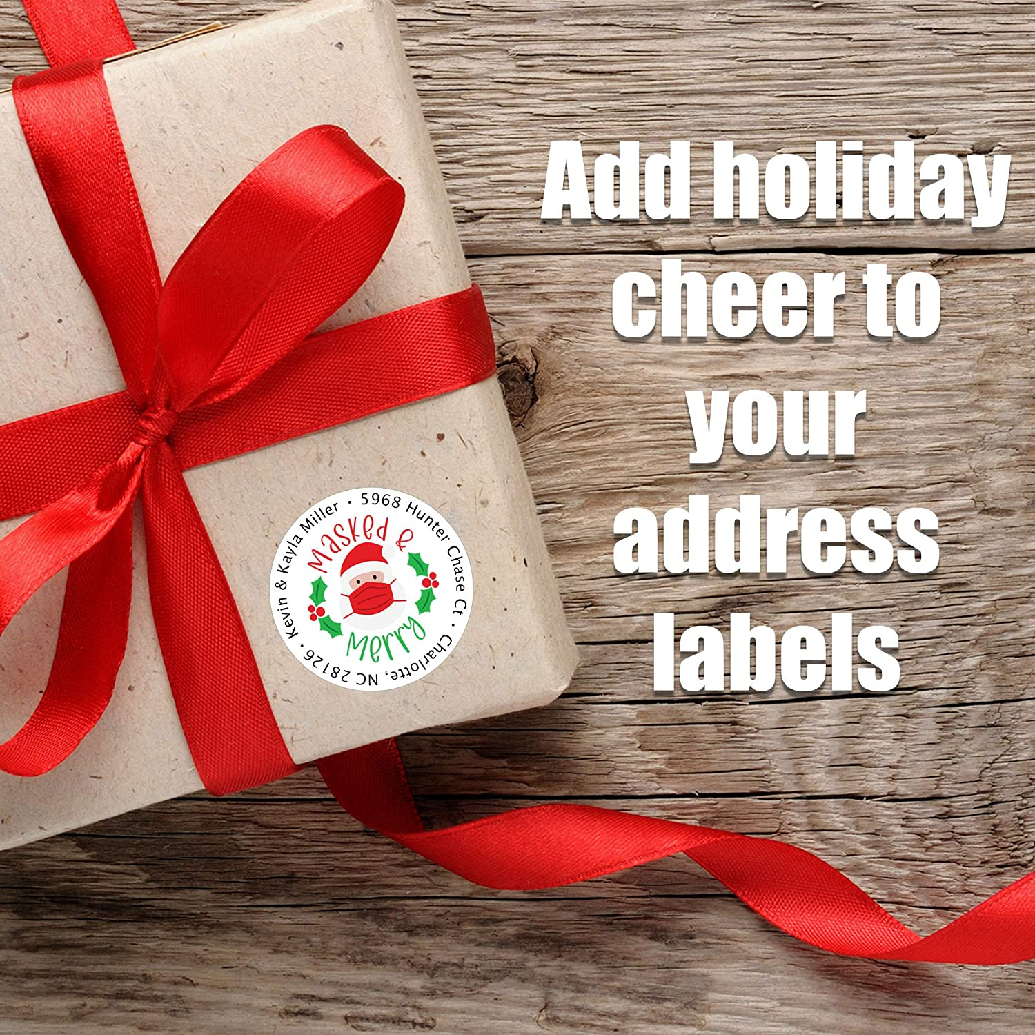 Self Adhesive Stickers with 2020 Designs Masked /& Merry Personalized Christmas Address Labels Set of 80 Mailing Labels Flat Sheet Round Labels for Envelopes Custom Holiday Return Address Labels