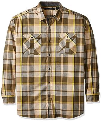 10727d75386 Amazon.com  Sean John Men s Big and Tall Long Sleeve Epaulette Shirt   Clothing