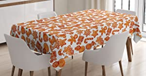 Ambesonne Christmas Tablecloth, Gingerbread Man House Cones Xmas Cookie Celebration Theme, Rectangular Table Cover for Dining Room Kitchen Decor, 60