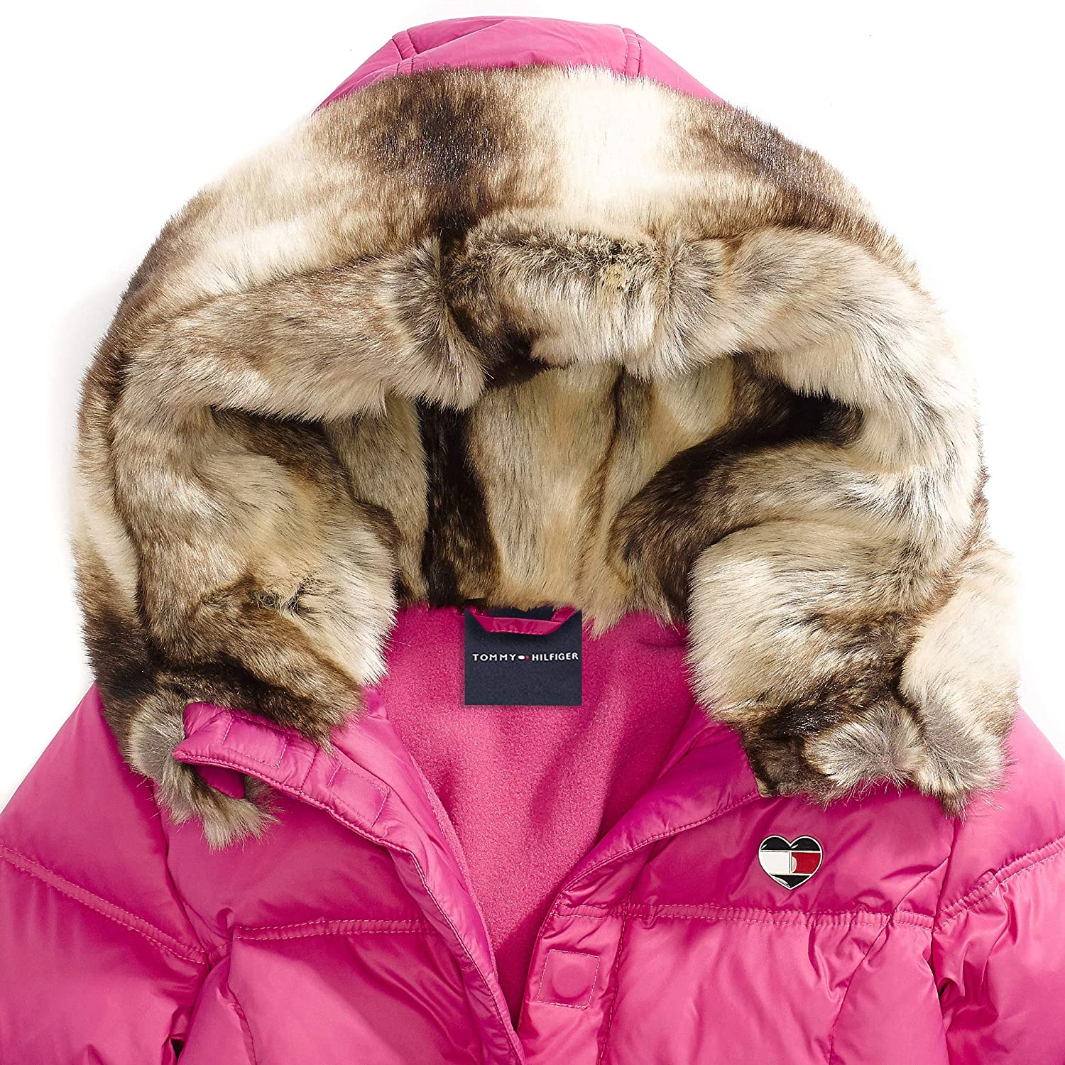 c469925c Tommy Hilfiger Adaptive Girls' Puffer Jacket with Magnetic Buttons and Faux  Fur Hood 7182781 larger image