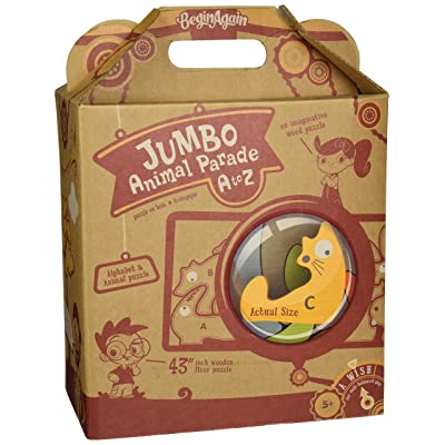 BeginAgain Jumbo Animal Parade A to Z Puzzle - Educational Wooden Alphabet Playset - 5 and Up: Toys & Games